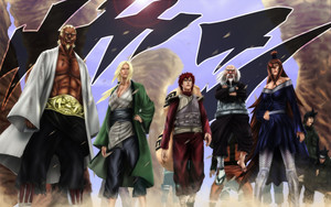 Preview wallpaper of A, Gaara, Meï Terumî, Tsunade, Ōnoki, Naruto, Kage