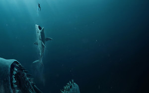 Preview wallpaper of Shark, Man, Hunting, Predator, Jaws