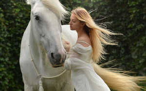 Смотреть обои Animal, Blonde, Girl, Horse, Long Hair, Model
