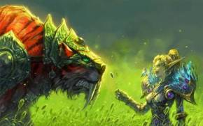 Смотреть обои World Of Warcraft, Blood Elf, Tigers