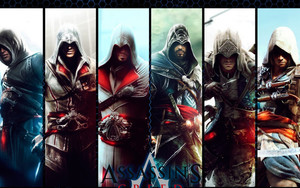 Смотреть обои Assassing Creed, Collage, Characters, Posters