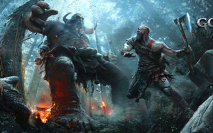 Preview wallpaper of God of War, Game 2018, Kratos, Atreus, Troll
