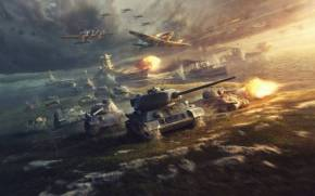 Смотреть обои World of Tanks и World of Warplanes