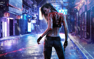 Смотреть обои Blood, Cyberpunk, Girl, Gun, Laser, Rain