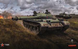 Смотреть обои World of Tanks, T-62A, Field, Game Poster