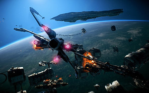 Preview wallpaper Space, Star Wars, Star Wars Battlefront II, X-Wing