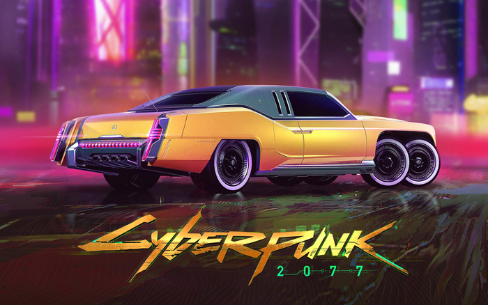 Wallpaper of Car, Video Game, Cyberpunk 2077, Yellow background & HD image