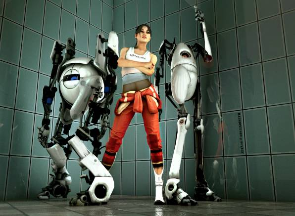 HD Wallpaper of Portal, chell, девушка, роботы