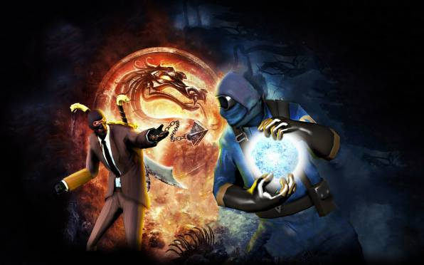 HD Wallpaper of Spy, Pyro, Team Fortress 2, mortal kombat