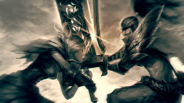 Обои League of Legends, Yasuo, Riven, the Exile,