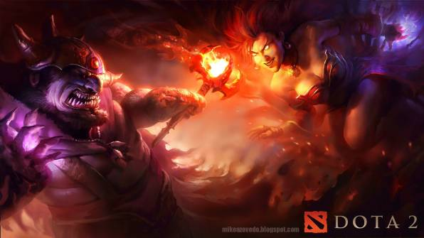 Обои dota 2, lina vs  lion