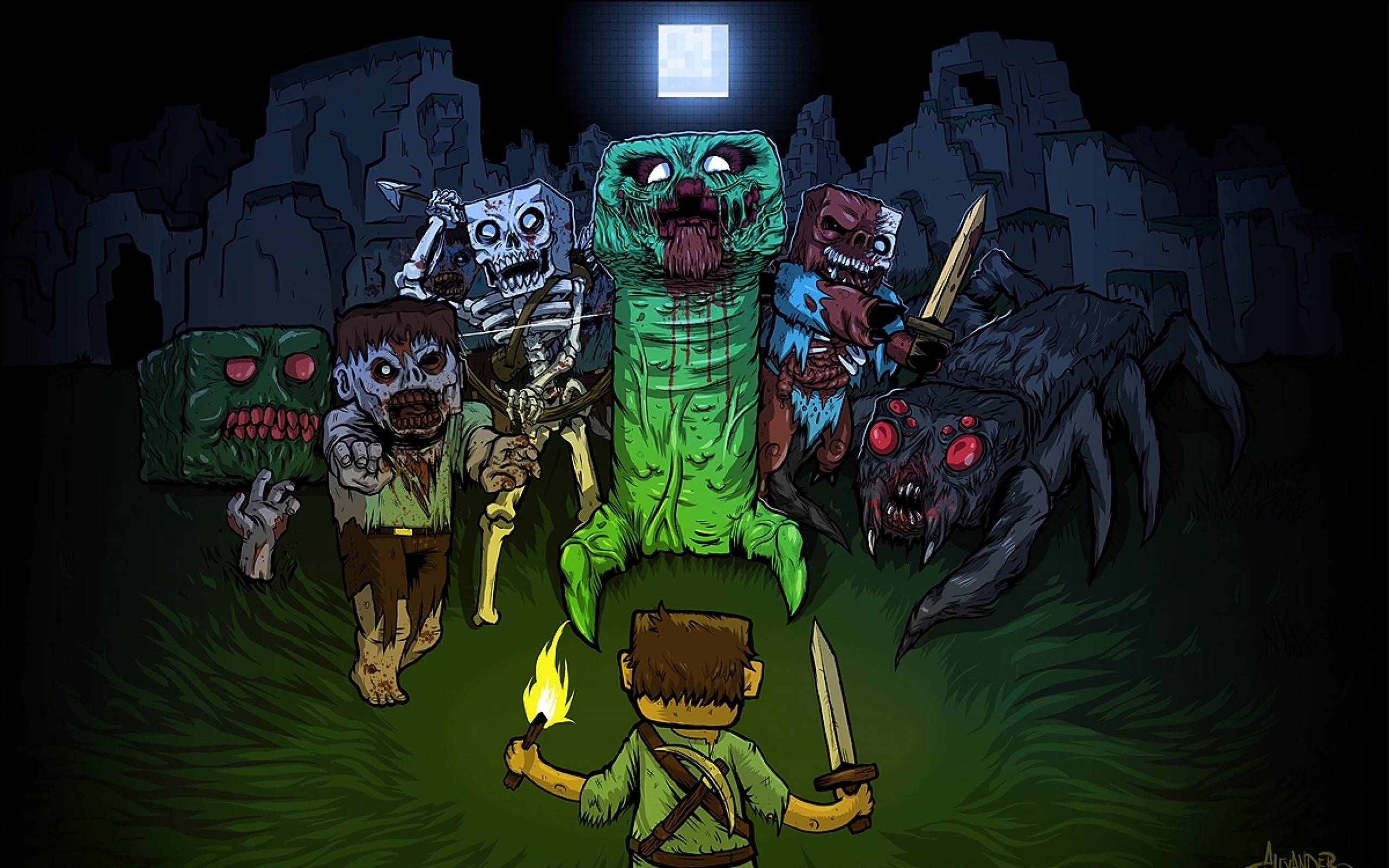 Zombi Iz Minecraft Creeper Wallpaper