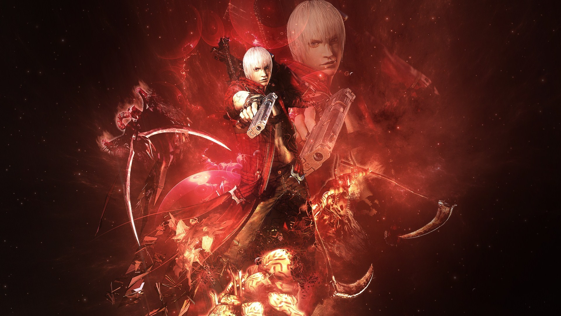Wallpaper Of Devil May Cry 3 Demon Dante Pistolety Background