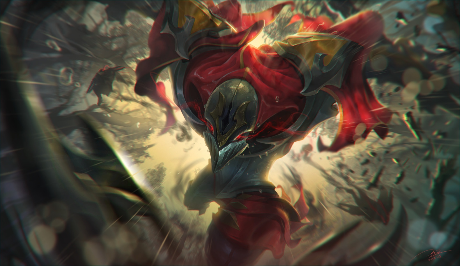 Wallpaper Of League Of Legends Zed Video Game Art Background