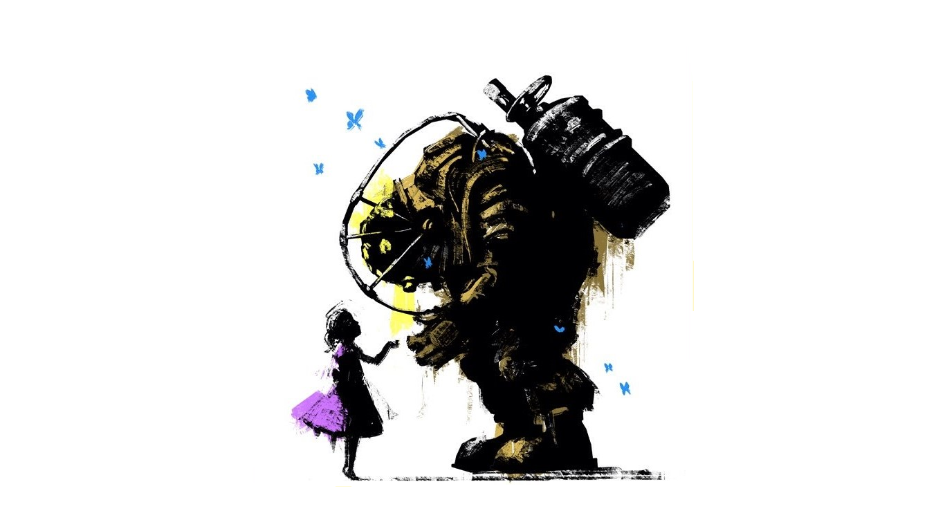 Wallpaper Of Big Daddy Bioshock Little Sister Background Hd Image