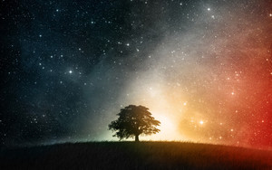 Preview wallpaper of Cosmos, Grass, Landscape, Sky, Space, Stars