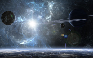 Preview wallpaper Planet, Space, Sun, Stars, Fantasy
