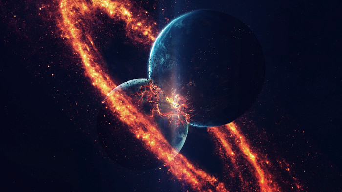 HD Wallpaper of Collision, Planet, Space