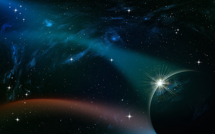 HD Wallpaper of Planet, Stars, Radiance, Starry Sky, Galaxy, Unive