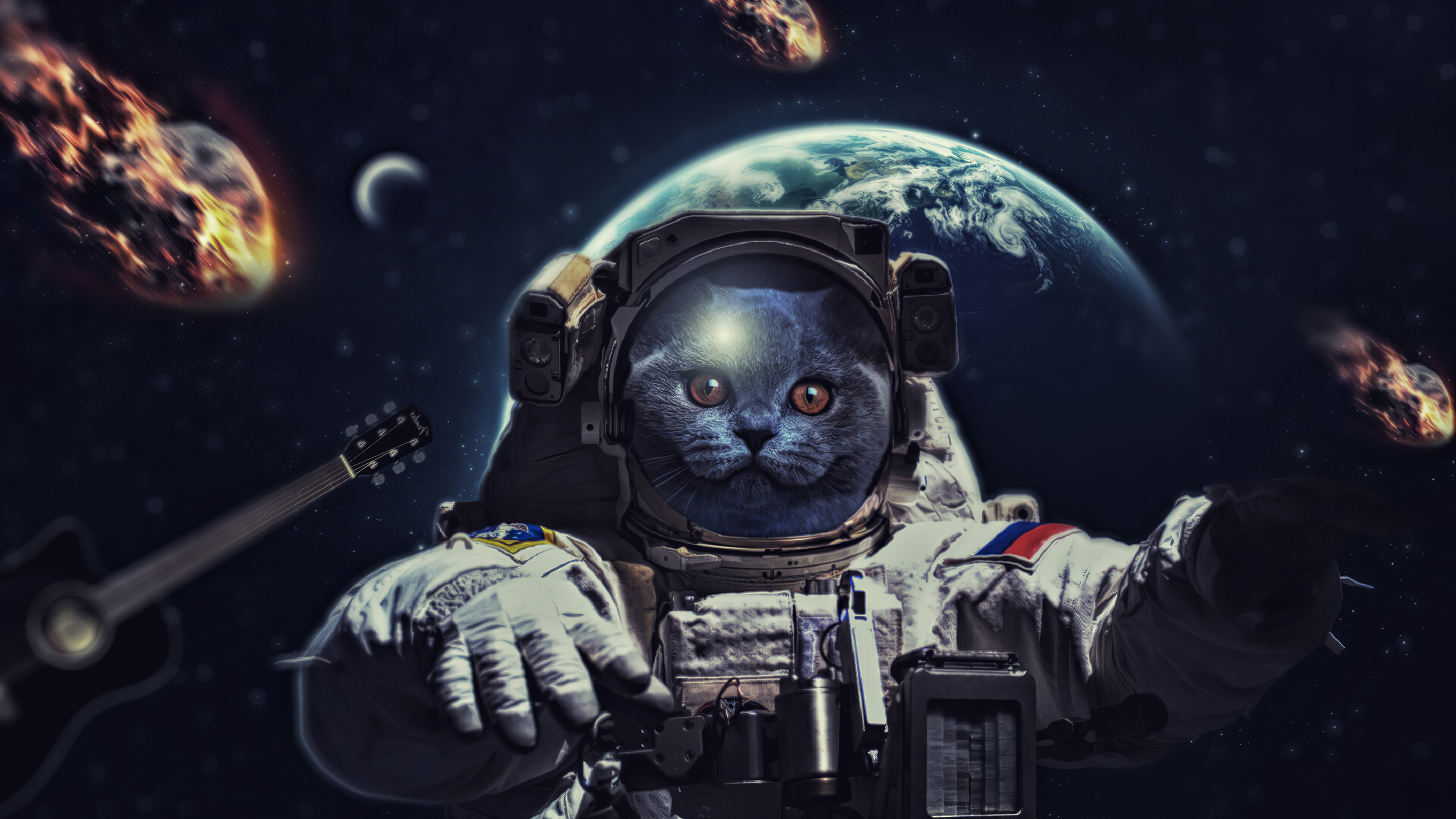 Wallpaper Of Astronaut Cat Space Background Hd Image
