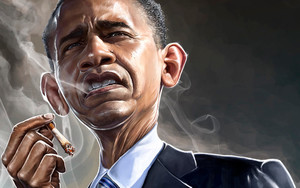 Preview wallpaper of American, Barack Obama, Caricature, Cigarette