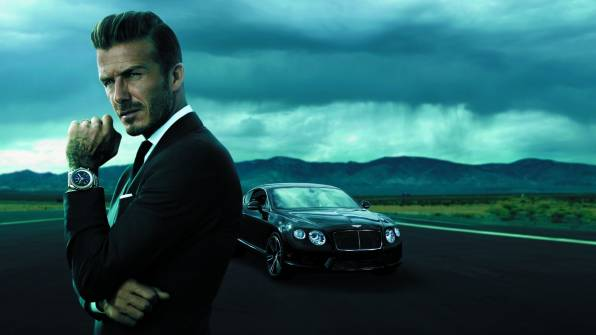 Превью обои: David Beckham, часы Breitling, Bentley