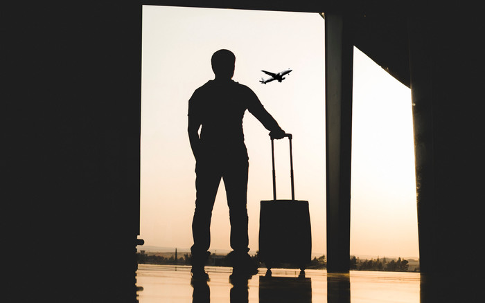 HD Wallpaper of Man, Silhouette, Airport, Travel, Suitcase