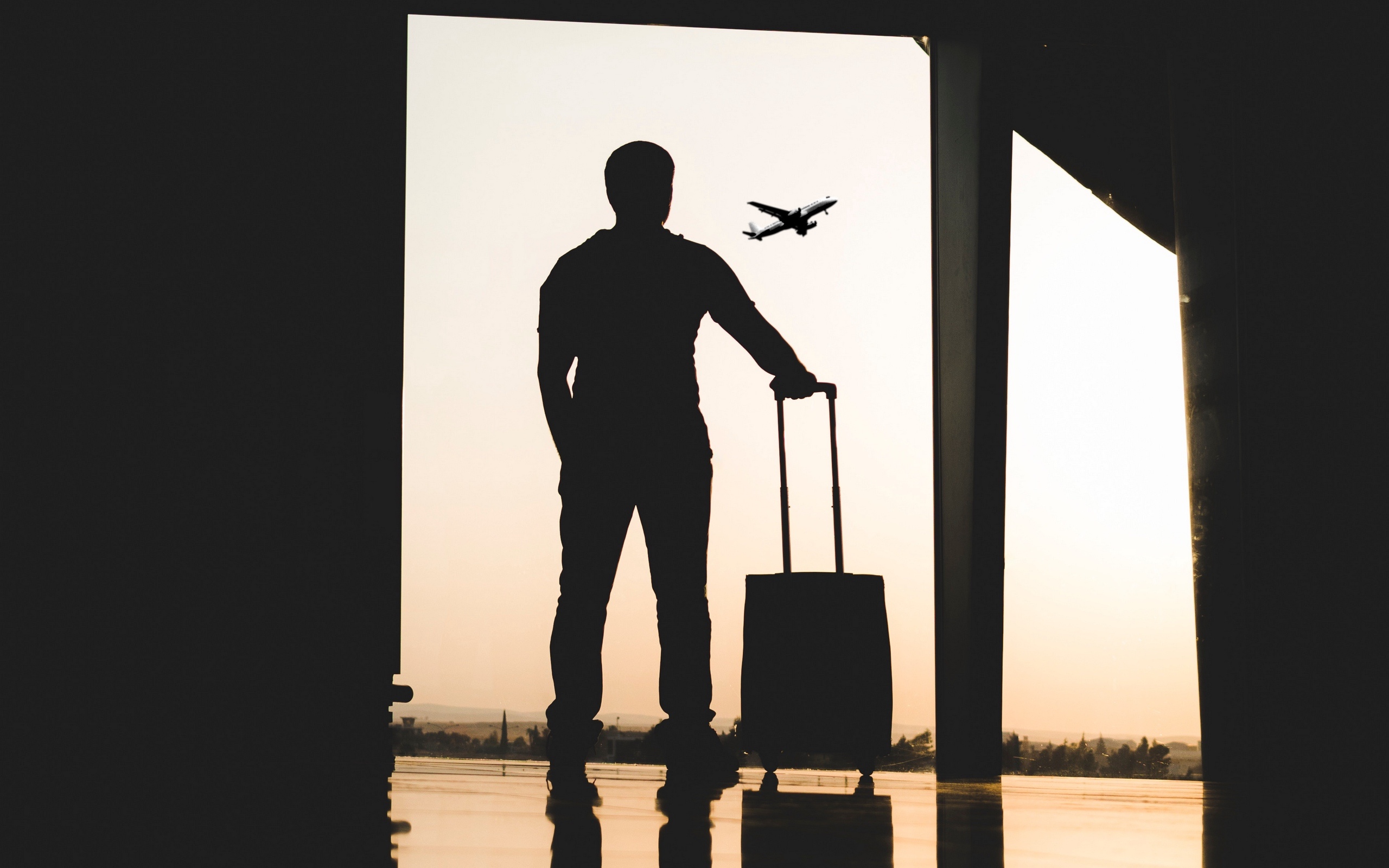 Wallpaper of Man, Silhouette, Airport, Travel, Suitcase