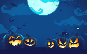 Preview wallpaper of Cat, Halloween, Jack-o'-lantern, Moon, Night