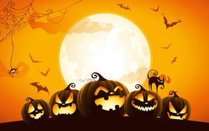 Preview wallpaper of Bat, Cat, Halloween, Jack-o'-lantern, Moon, Spider