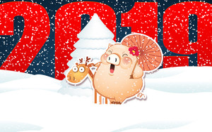 Preview wallpaper New Year, 2019, Snow, Snowfall, Pig