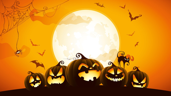 Wallpaper of Bat, Cat, Halloween, Jack-o'-lantern, Moon, Spider background & HD image