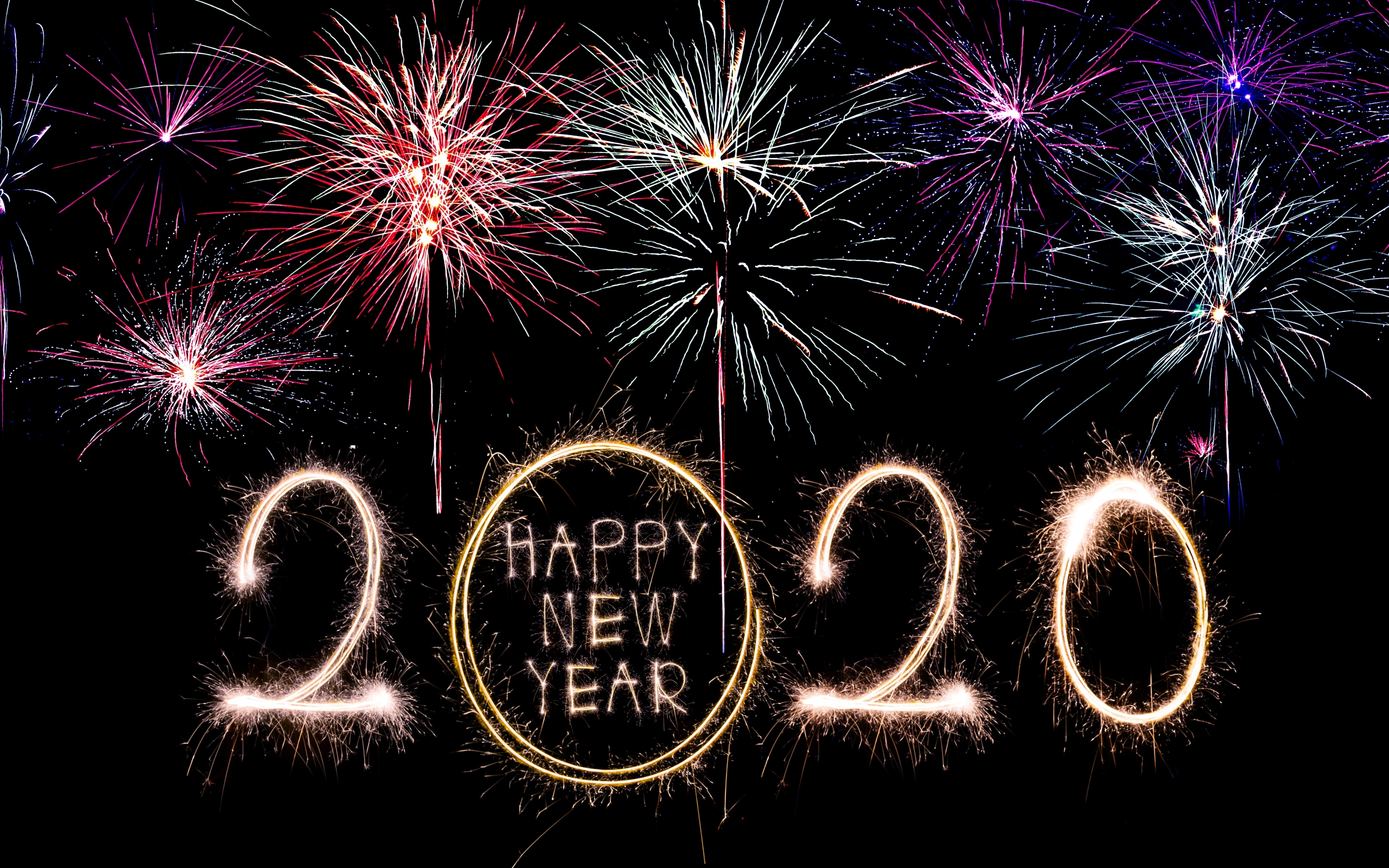 Wallpaper Of Fireworks Happy New Year New Year 2020 Background