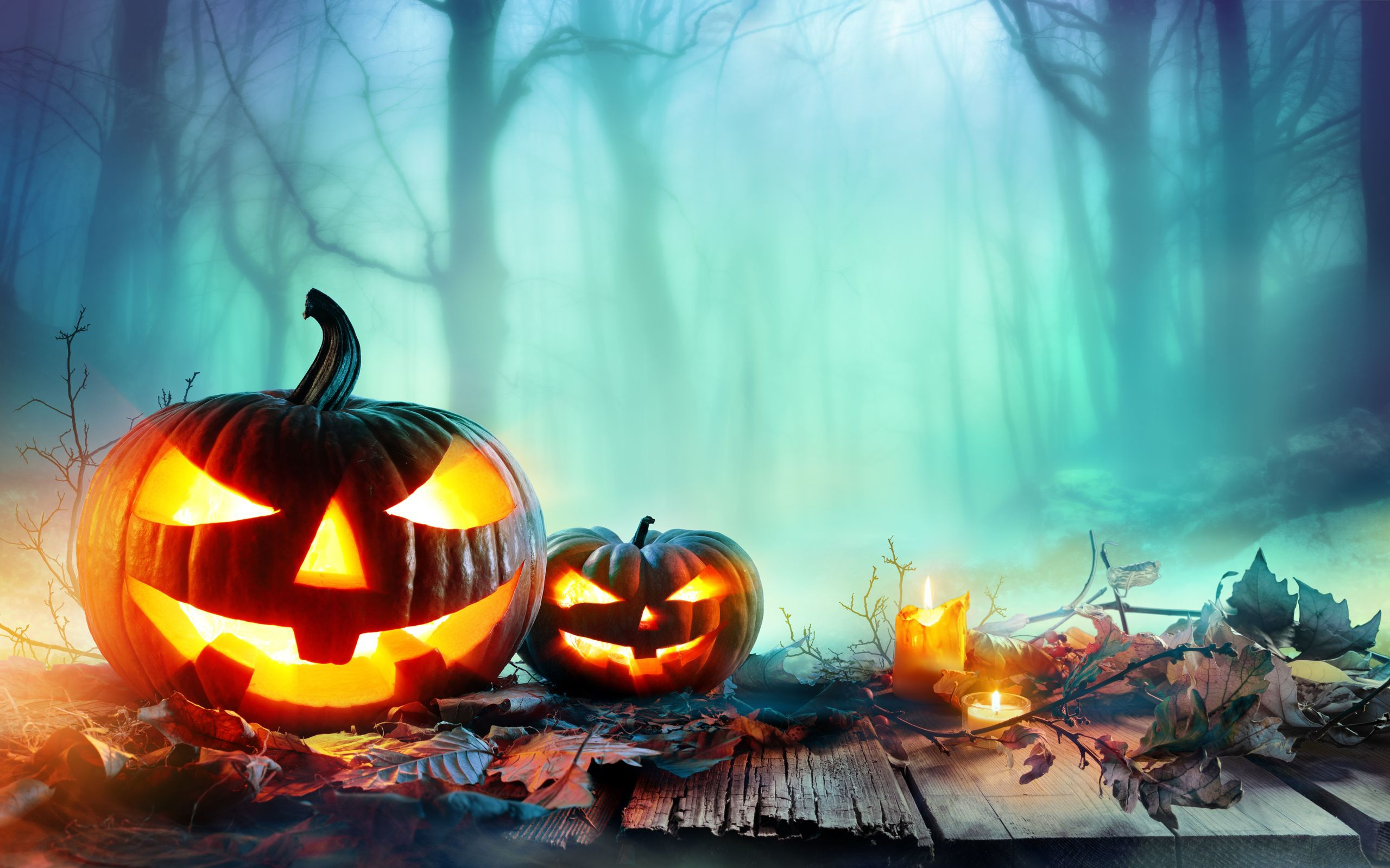 Wallpaper Of Candle Fall Fog Halloween Pumpkin