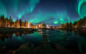 Preview wallpaper of Aurora, Borealis, Finland, Light, Nature