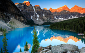 Preview wallpaper lake, mountain, sunrise, nature, trees