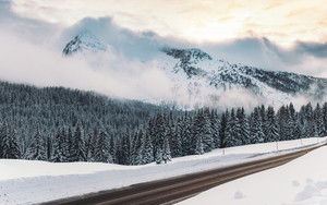 Preview wallpaper  Winter, <b>Snow</b>, Road, The Mountains, Fog