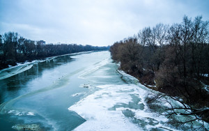 Смотреть обои Frozen-River, Ice, Landscape, River, Water, Winter
