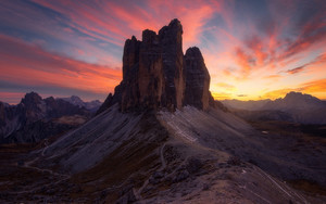 Preview wallpaper of Canyon, Dolomites, Earth, Italy, Rock, Sunset