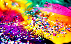 Preview wallpaper colorful, glittering,feathers,abstract