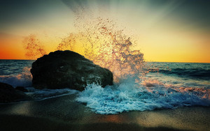 Preview wallpaper of Ocean, Rock, Splash, Sunset, Nature, Wave