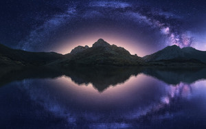 Preview wallpaper Milky Way, Mountain, Night, Reflection, Starry Sky