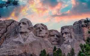 Preview wallpaper  <b>mountain</b>, rushmore, sunset