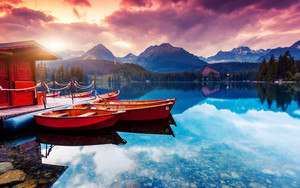 Preview wallpaper lake, sky, clouds, boat, landscape