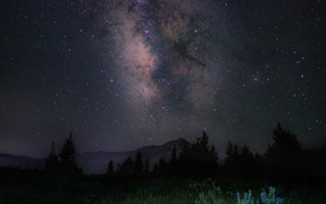 Смотреть обои Starry sky, Night, Mountains, Grass, Milky Way
