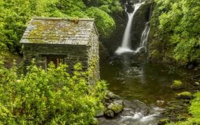 Смотреть обои Rydal Hall Waterfall, Lake District, England