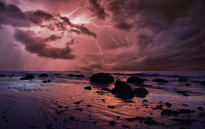 Preview wallpaper of Cloud, Horizon, Lightning, Nature, Ocean, Storm