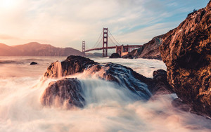 Preview wallpaper of Rock, Water, Golden Gate, Bridge