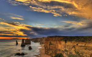 Preview wallpaper of Australia, Cliff, Coastline, Ocean, Rock, Sunset