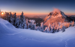Preview wallpaper  <b>Mountain</b>, Slovakia, Snow, Sunset, Winter, Nature